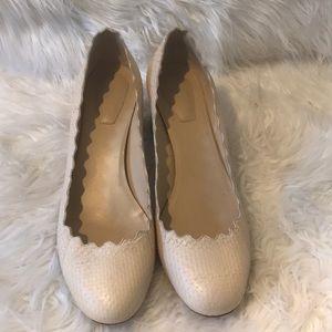 Chloe beige chunky block heels size 37.5